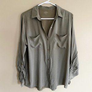 LOFT army green button down long sleeve blouse